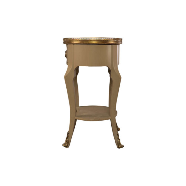 Emu Wood with Brass and Glass Side Table Side View