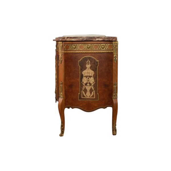 Ketho Marquetry Wood with Marble Top Vanity Unit Left Side View