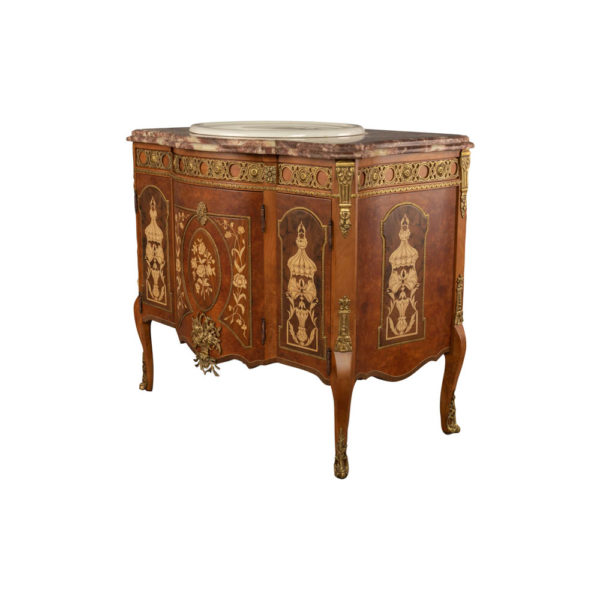 Ketho Marquetry Wood with Marble Top Vanity Unit Side View