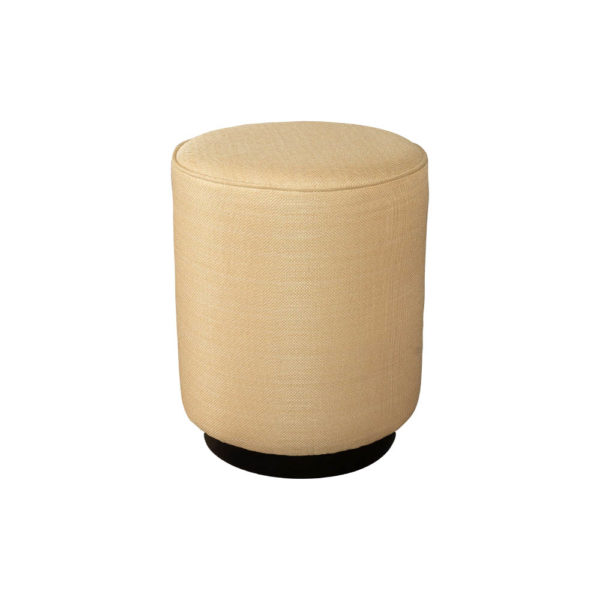 Loren Upholstered Round Pouf with Black Base