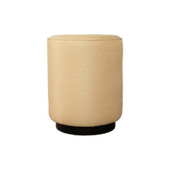 Loren Upholstered Round Pouf with Black Base Front View