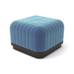 Lorna Upholstered Square Pouf with Wooden Base A