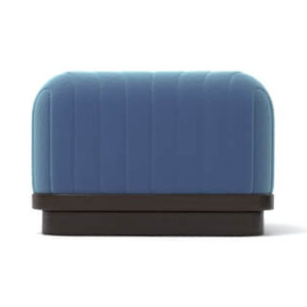 Lorna Upholstered Square Pouf with Wooden Base Front E