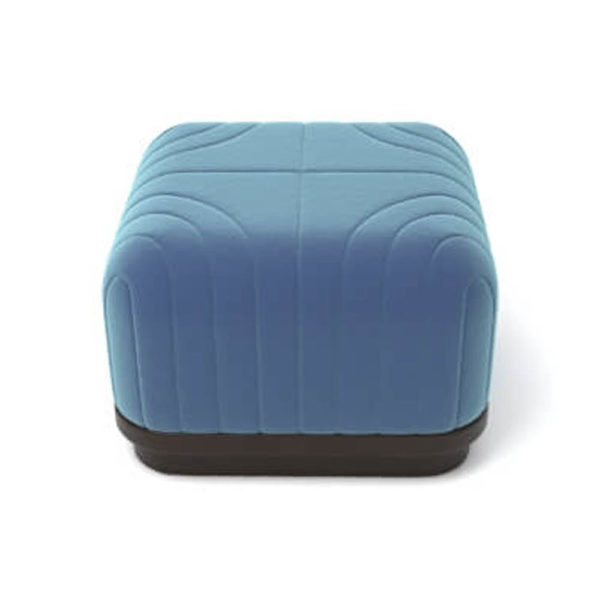 Lorna Upholstered Square Pouf with Wooden Base Top C