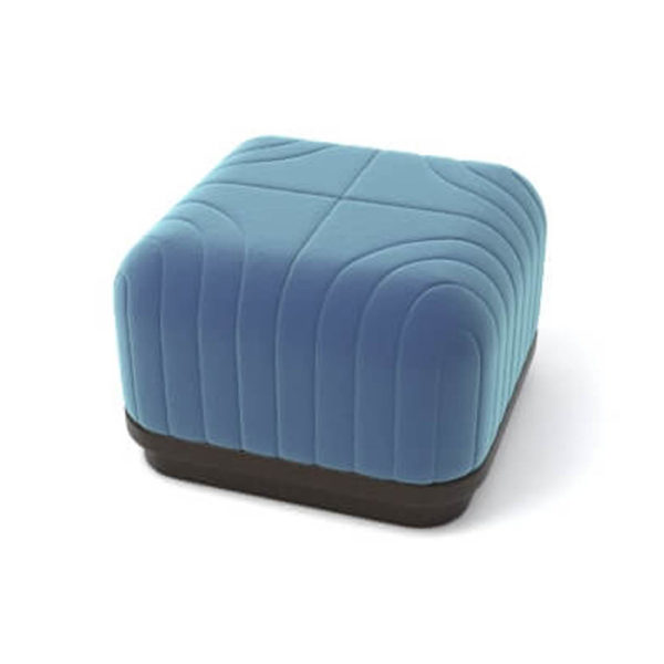 Lorna Upholstered Square Pouf with Wooden Base Top View D