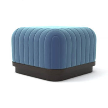 Lorna Upholstered Square Pouf with Wooden Base View B