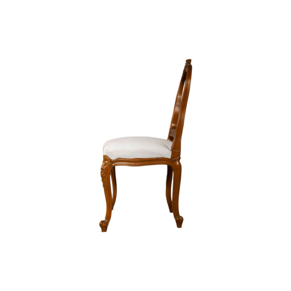 Macey Upholstered Vintage Dining Chair with Wood Frame Side View