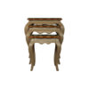Mallory Wood Beige Nest Side Table with Glass Top 1