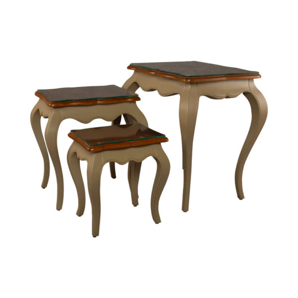 Mallory Wood Beige Nest Side Table with Glass Top Separated