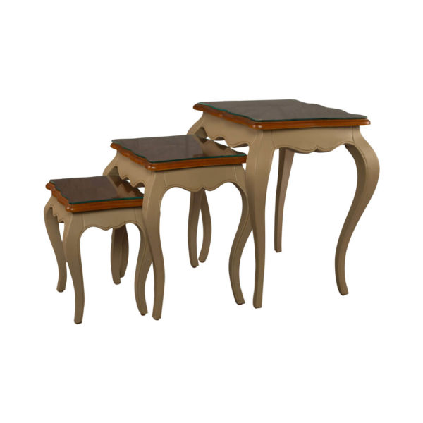Mallory Wood Beige Nest Side Table with Glass Top Side View