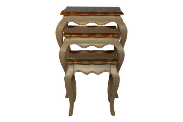 Mallory Wood Beige Nest Side Table with Glass Top View
