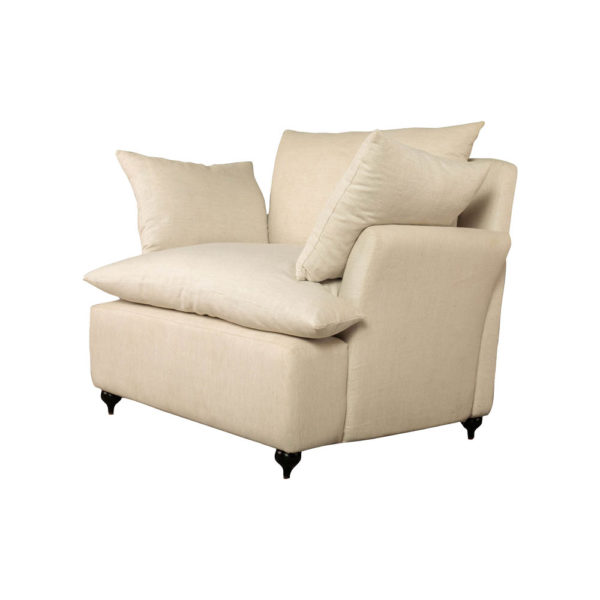 Mars Upholstered Off White Armchair with Cushions Beside View
