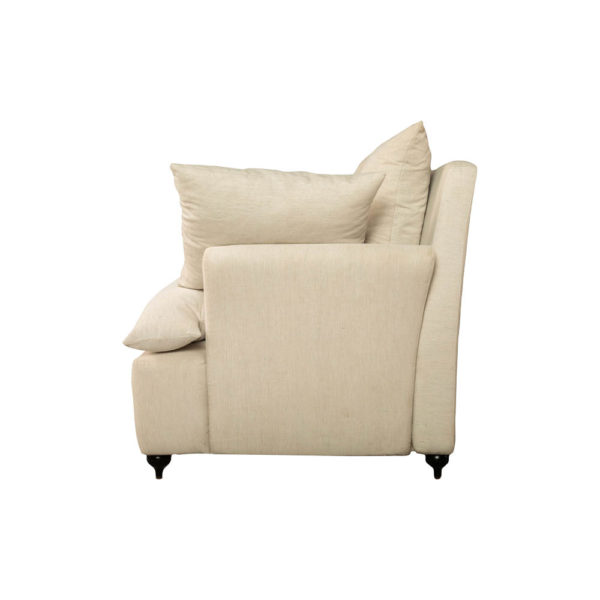 Mars Upholstered Off White Armchair with Cushions Side View