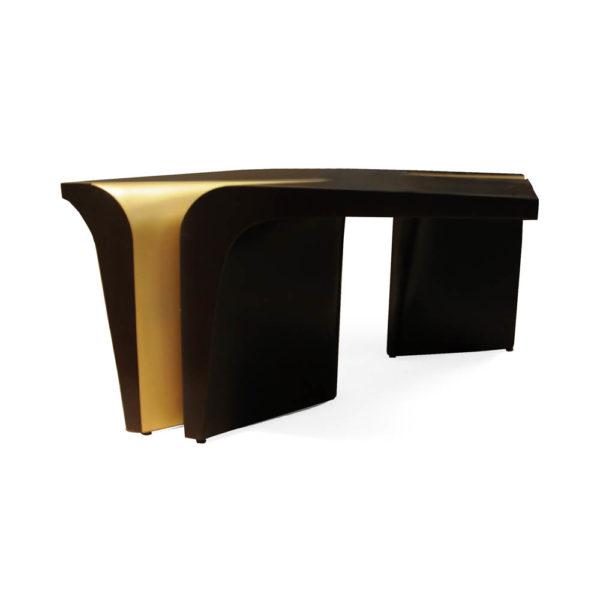 Mercado Dark Brown and Wood Coffee Table Corner View