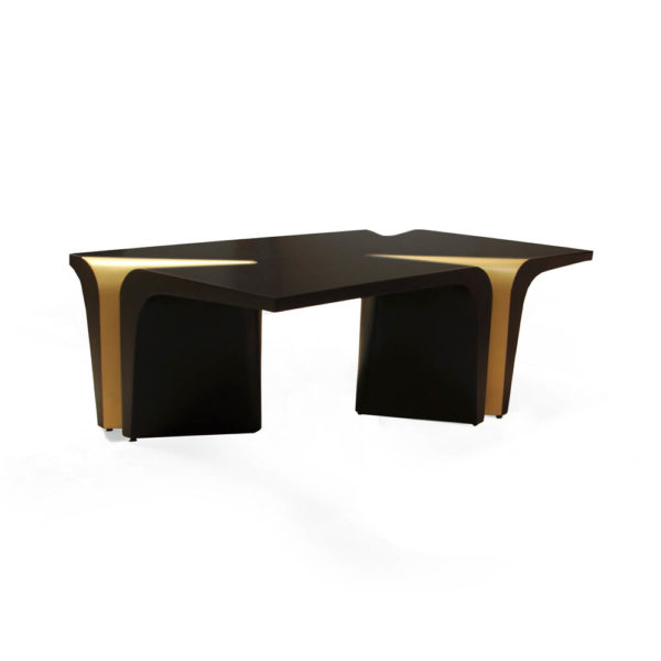 Mercado Dark Brown and Wood Coffee Table Side View