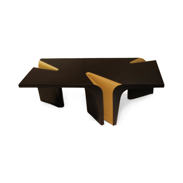 Mercado Dark Brown and Wood Coffee Table Top with Gold