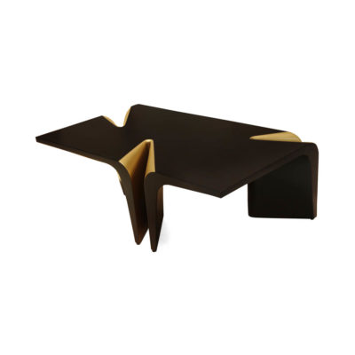 Mercado Dark Brown and Wood Coffee Table with Gold