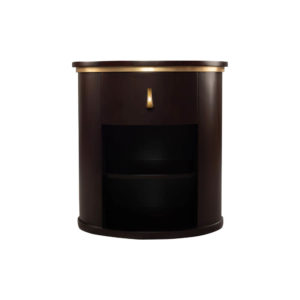 Nova Dark Brown Oval Bedside Table with Brass Inlay
