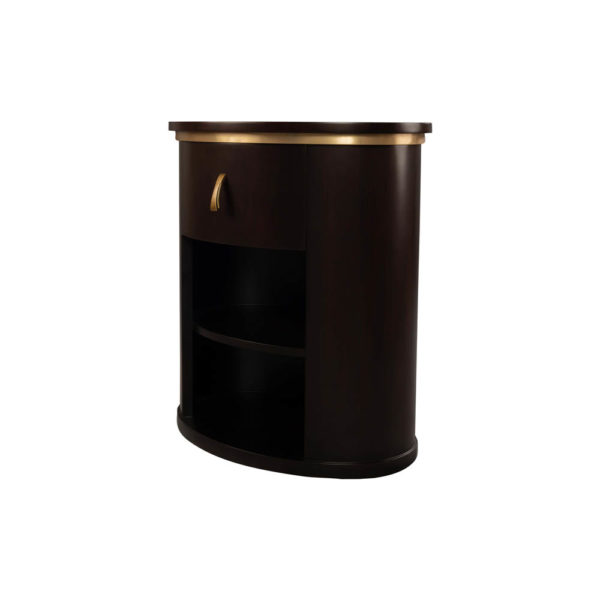 Nova Dark Brown Oval Bedside Table with Brass Inlay Beside View