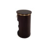 Nova Dark Brown Oval Bedside Table with Brass Inlay 3