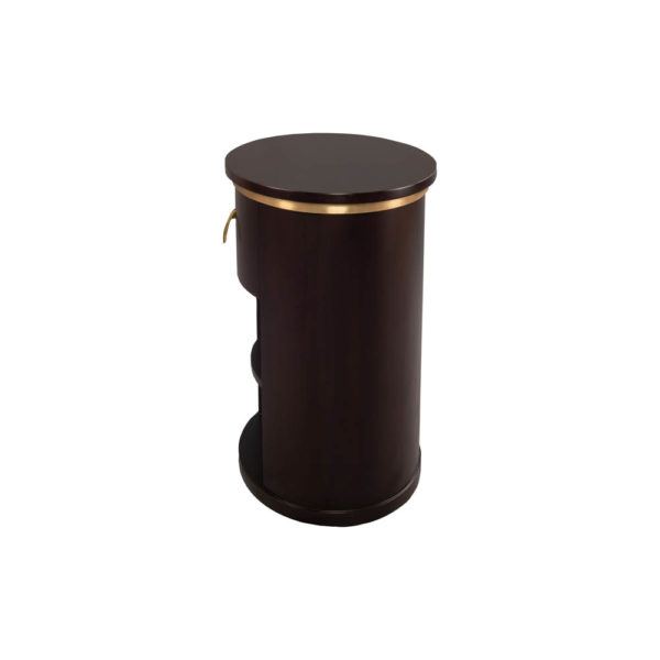 Nova Dark Brown Oval Bedside Table with Brass Inlay Side View