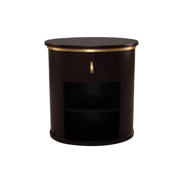 Nova Dark Brown Oval Bedside Table with Brass Inlay Top View