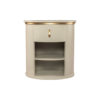 Nova Oval Gray Bedside Table with Brass Inlay 1