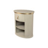 Nova Oval Gray Bedside Table with Brass Inlay 4