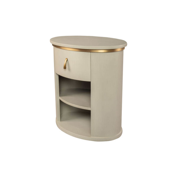Nova Oval Gray Bedside Table with Brass Inlay Beside View