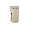 Nova Oval Gray Bedside Table with Brass Inlay 3