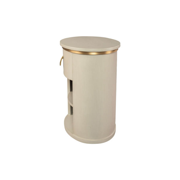 Nova Oval Gray Bedside Table with Brass Inlay Left Side View