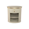 Nova Oval Gray Bedside Table with Brass Inlay 2