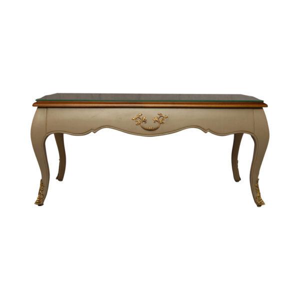 Rimadesio Rectangular Wood Beige Coffee Table with Glass Top