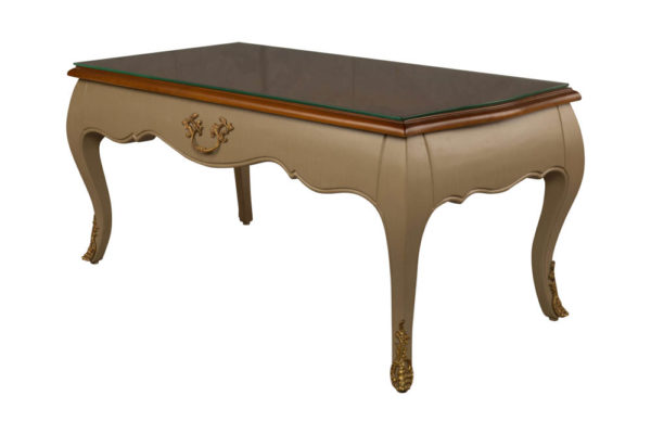 Rimadesio Rectangular Wood Beige Coffee Table with Glass Top View