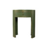 Rosa Wood Olive Green Bedside Table with Glass Top 1