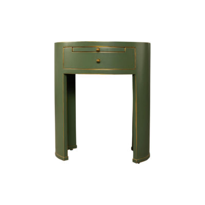Rosa Wood Olive Green Bedside Table with Glass Top