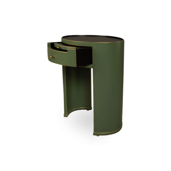 Rosa Wood Olive Green Bedside Table with Glass Top Drawer