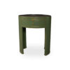 Rosa Wood Olive Green Bedside Table with Glass Top 5