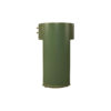 Rosa Wood Olive Green Bedside Table with Glass Top 4