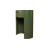 Rosa Wood Olive Green Bedside Table with Glass Top 3