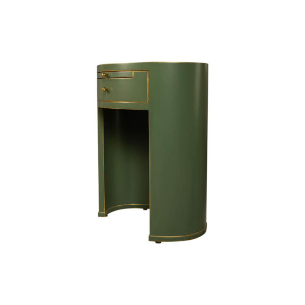 Rosa Wood Olive Green Bedside Table with Glass Top Side View