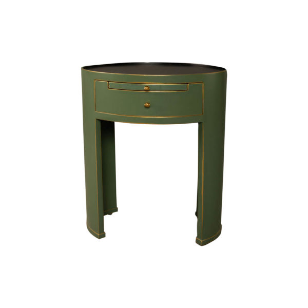 Rosa Wood Olive Green Bedside Table with Glass Top View