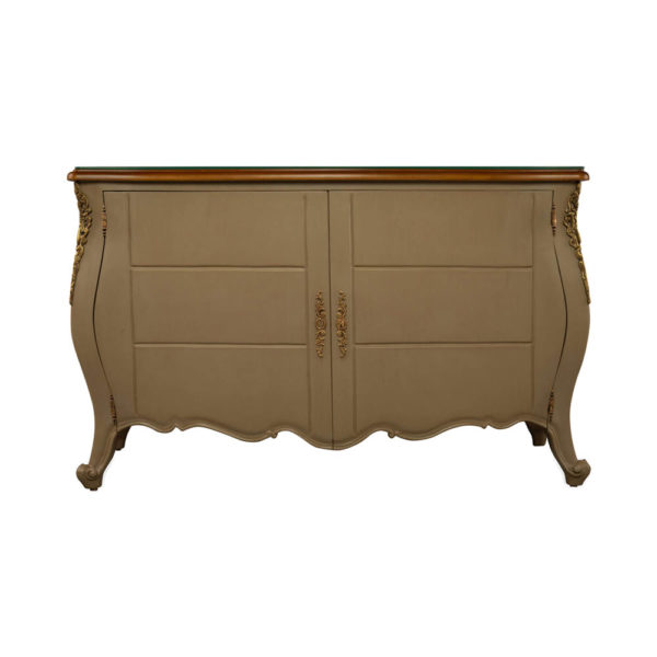 Roux Beige Wooden Sideboard with Glass Top