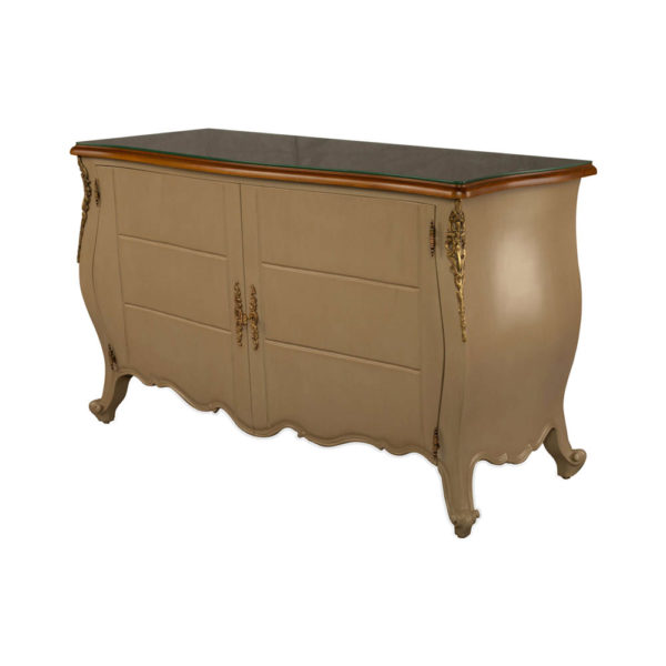 Roux Beige Wooden Sideboard with Glass Top Beside View