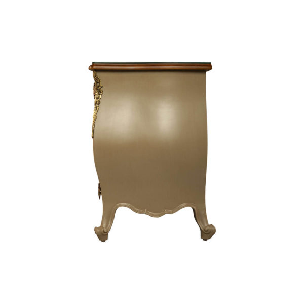 Roux Beige Wooden Sideboard with Glass Top Side View