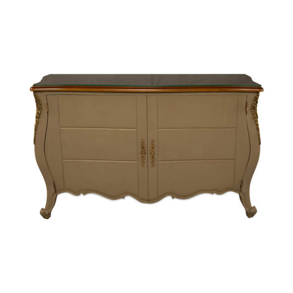 Roux Beige Wooden Sideboard with Glass Top View