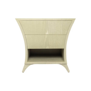 Sahco Grey Wood with 2 Drawers Shelf Bedside Table