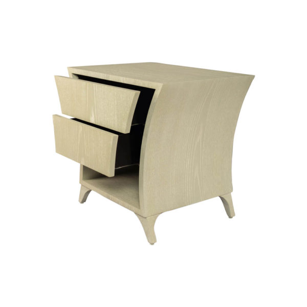 Sahco Grey Wood with 2 Drawers Shelf Bedside Table Drawers