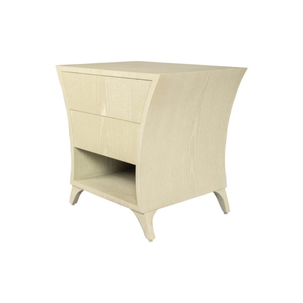 Sahco Grey Wood with 2 Drawers Shelf Bedside Table Top View