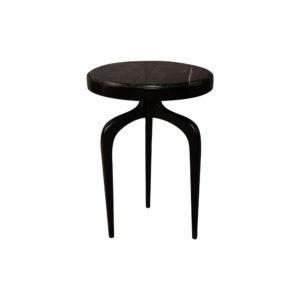 Sasha Black Wood with Marble Top Side Table